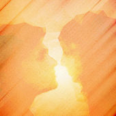 Loving couple kissing at sunset, beautiful wooden vector background — Vector de stock