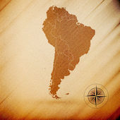 South America map, wooden design background, vector illustration — Vecteur