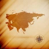 Eurasia map, wooden design background, vector illustration — Stock Vector