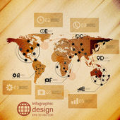 World map, infographic design illustration, wooden background vector — Vettoriale Stock