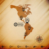North and South America map, wooden design background, infographics vector illustration — Stock Vector