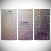 Set of vertical banners. Microchip backgrounds, electronics circuit, EPS10 vector illustration — Vetorial Stock