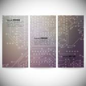 Set of vertical banners. Microchip backgrounds, electronics circuit, EPS10 vector illustration — 图库矢量图片