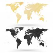 World map, wooden design texture, vector illustration — Stockvektor