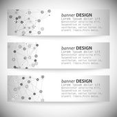 Set of horizontal banners. Molecule structure, gray background for communication, vector illustration — Stock Vector