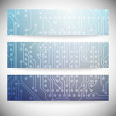 Set of horizontal banners. Microchip backgrounds, electronics circuit, EPS10 vector illustration — Stock Vector