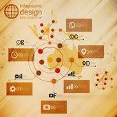 Australia map, infographic design illustration, wooden background vector — Stock Vector