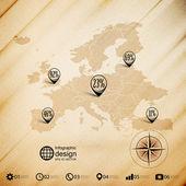Europe map, wooden design background, infographics vector illustration — Stok Vektör
