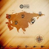 Eurasia map, wooden design background, infographics vector illustration — Stock Vector