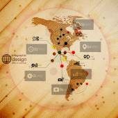 North and South America map, infographic design illustration, wooden background vector — Vector de stock