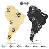 South America map, wooden design texture, infographics vector illustration — Vetor de Stock