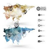 Eurasia map template, triangle design, infographics vector illustration — Stock Vector