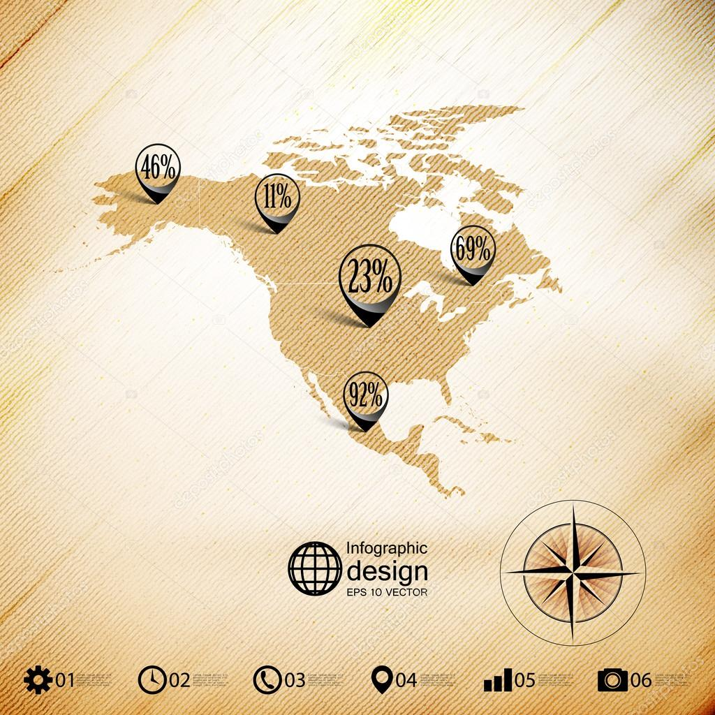 北美地图, 木设计背景, 信息图形矢量图— vector by raevsky