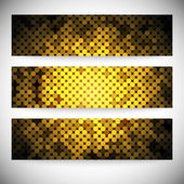 Set of horizontal banners. Abstract golden dots background vector illustration — Stock Vector
