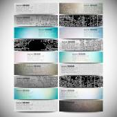 Big banners set, science backgrounds, microchip and electronics circuit backgrounds. Conceptual vector design templates. — Stock Vector