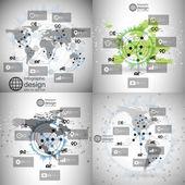 World maps set, infographic templates for business design, science design vector illustration — Stock Vector