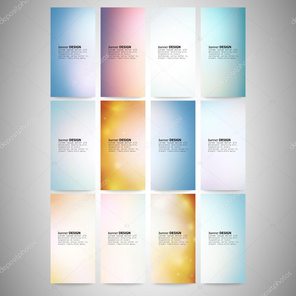 Abstract Colored Backgrounds set. Modern vertical banners ...