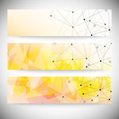 Set of horizontal banners. Orange triangle design background, vector illustration — Cтоковый вектор