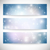 Winter backgrounds set with snowflakes. Abstract winter design and website templates, abstract pattern vector — Vettoriale Stock