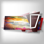 Infographic banner, origami styled vector — Stock Vector