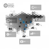 Eurasia map, infographic template for business design, hexagonal design vector illustration — Stock Vector