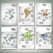 World maps, infographic design. Brochure, flyer or report for business, templates vector — Stockvektor