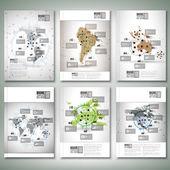 World maps, infographic design. Brochure, flyer or report for business, templates vector — Vector de stock