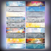 Big colored abstract banners set. Conceptual triangle design vector templates. — Stockvector