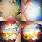 Abstract colored backgrounds set, triangle design vector illustration — Stock Vector
