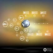 мир земного шара, запятнанный инфографический векторный шаблон для делового дизайна — Cтоковый вектор