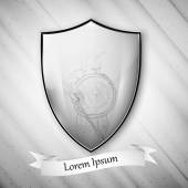 Spartan image. Metal shield on dirty gray background. Vector format — 图库矢量图片