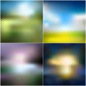 Abstract blurred backgrounds set, abstract templates vector — Stockvektor