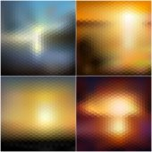 Abstract blurred backgrounds set, abstract templates vector — Stock Vector