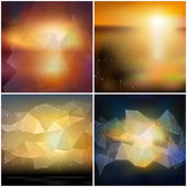 Set of blurry backgrounds. Abstract geometric colorful triangle design vectors — Stock Vector