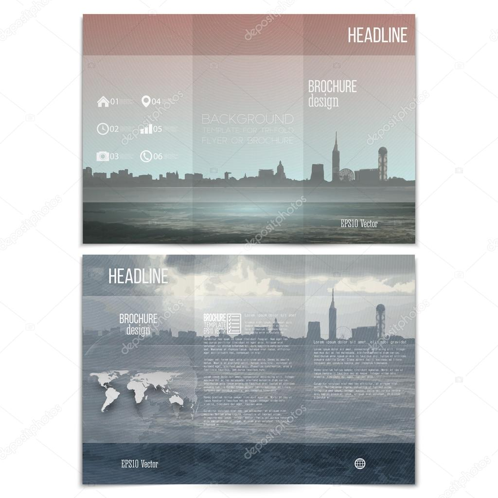 city landscape brochure tri fold flyer or booklet for business city landscape brochure tri fold flyer or booklet for business modern trendy design vector templates on both sides stock illustration