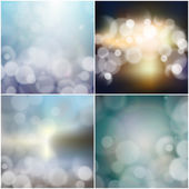Big set of blurry backgrounds with bokeh effect. Abstract vector illustration — Stock Vector