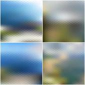 Vector web and mobile interface templates. Blurred hexagonal backgrounds set — Vetor de Stock