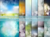 Big set of blurry backgrounds with bokeh effect. Abstract vector illustration — Vetor de Stock