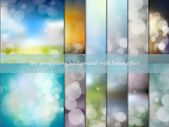 Big set of blurry backgrounds with bokeh effect. Abstract vector illustration — Stock vektor
