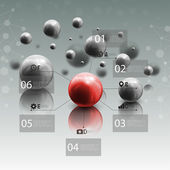 Spheres in motion on gray background. Red sphere with infographic elements for business or science report, abstract molecular geometric pattern vector illustration — Vettoriale Stock