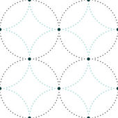 Dotted seamless pattern with circles and nodes. Repeating modern stylish geometric background. Simple abstract monochrome vector texture — Stock Vector