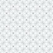 Seamless pattern with hexagons and nodes. Repeating modern stylish geometric background. Simple abstract monochrome vector texture — Stock Vector