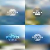 Set of summer time posters, vector web and mobile interface templates. Blurred mesh backgrounds — Stock Vector