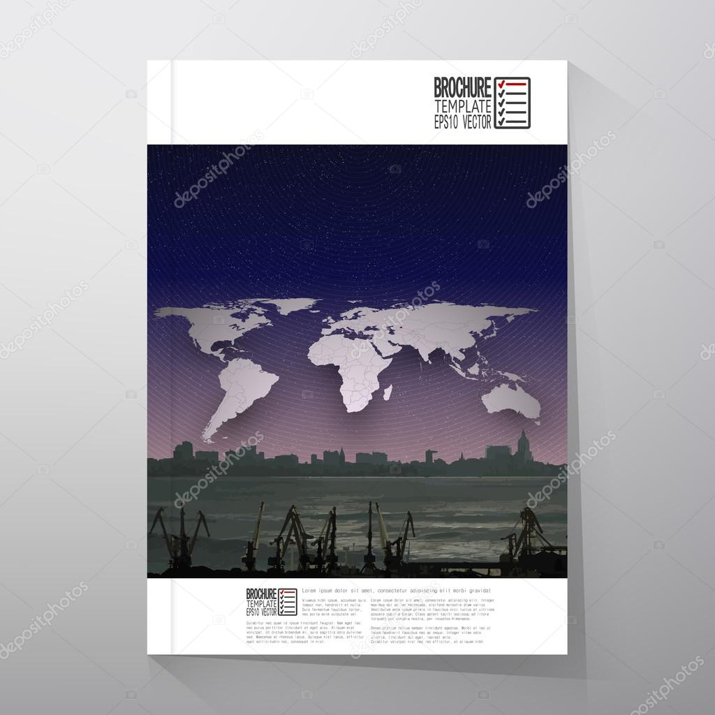 shipyard and city landscape night design world map vector shipyard and city landscape world map night design vector brochure flyer or report for business templates vector vector by raevsky