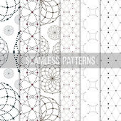 Dotted seamless patterns with circles and nodes. Repeating modern stylish geometric backgrounds. Simple abstract monochrome vector textures — Stock Vector