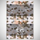 Vector set of tri-fold brochure design template on both sides with world globe element. Hexagonal modern stylish geometric brown background — Stok Vektör