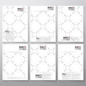 Dotted repeating modern stylish geometric background with circles and nodes. Simple abstract monochrome texture. Brochure, flyer or booklet for business, template vector — Stock Vector