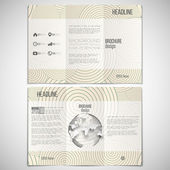 Vector set of tri-fold brochure design template on both sides with world globe element. Vintage style beige background. Modern stylish geometric decoration. Simple abstract monochrome vector texture — Stockvektor