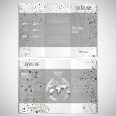 Vector set of tri-fold brochure design template on both sides with world globe element. Molecular black structure, white background. Business or science style, vector illustration — Stock Vector