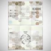 Vector set of tri-fold brochure design template on both sides with world globe element. Hexagonal modern stylish geometric brown background — Stockvektor